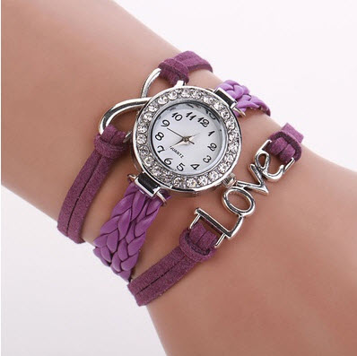 82e87a0b67f7 Reloj de Pulsera De Metal y cuero Para Mujer Morado – DeProductos.com
