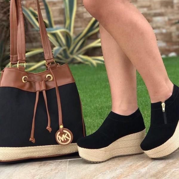 Bolso mas zapatos de moda MK Bota Negro