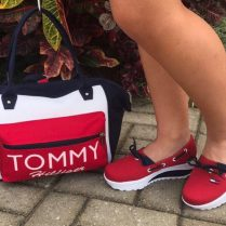 Duo Bolso mas zapatos de moda Tommy mocasin rojo