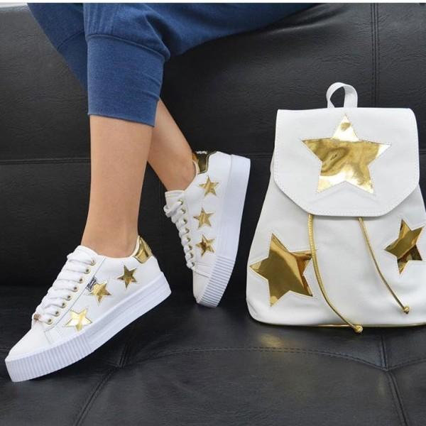 Duo bolso mas zapatos de moda súper star blanco