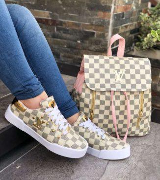Duos deproductos zapatos de moda bonitos para dama blancos y rosado